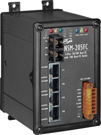 NSM-205FC  # Multi-mód, SC csatlakozó, 4-port 10/100 Mbps és 1 fiber port Switch, fémhaz,  ICP DAS