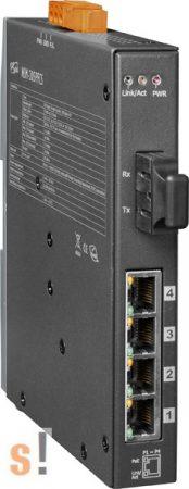 NSM-205PFCS  # Single-mód, 30km, SC csatlakozó, 4-port 10/100 Mbps PoE (PSE) és 1 Fiber port switch, fémház, ICP DAS
