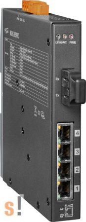 NSM-205PFC CR # Multi-mód, SC csatlakozó, 4-port 10/100 Mbps PoE (PSE) és 1 Fiber port switch, fémház, ICP DAS