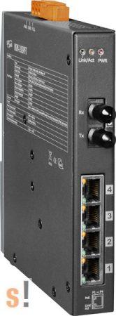 NSM-205PFT CR # Multi-mód, ST csatlakozó, 4-port 10/100 Mbps PoE (PSE) és 1 Fiber port switch, fémház, ICP DAS