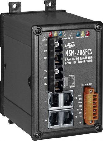 NSM-206FCS # Single-mód, 15km, SC csatlakozó, 4-port 10/100 Mbps és dupla fiber port switch, fémház,  ICP DAS
