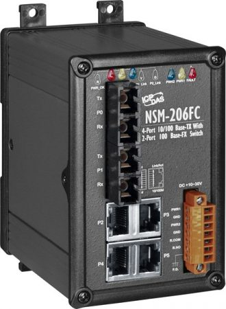 NSM-206FC # Multi-mód, SC csatlakozó, 4-port 10/100 Mbps és dupla fiber port switch, fémház, ICP DAS