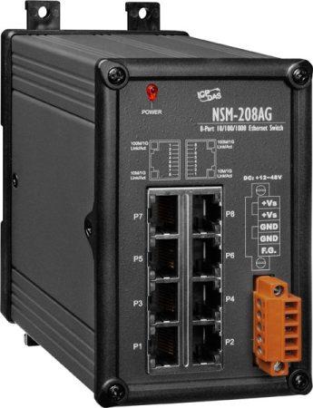 NSM-208AG # Gigabit Ethernet switch, 8 port, 10/100/1000 Mbps, 48VDC, femhaz, ICP DAS