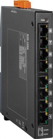 NSM-208A # Ethernet switch, 8 port, 10/100 Mbps, +12 VDC ~ +48 VDC, fémház, ICP DAS