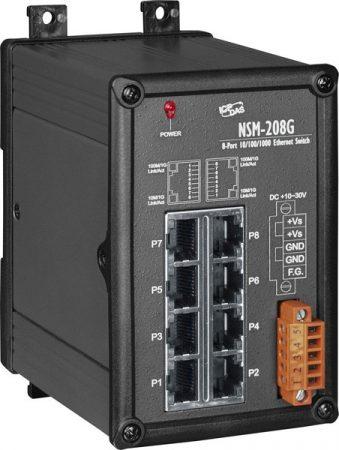 NSM-208G # Gigabit Ethernet switch, 8 port, 10/100/1000 Mbps, fémház, ICP DAS