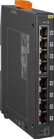 NSM-208PSE-24V # PoE Ethernet switch, 10/100, 8 port, 24VDC, fémház, ICP DAS