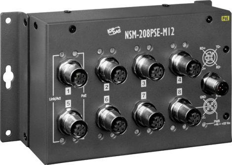 NSM-208PSE-M12 # Ipari Ethernet switch/EN50155 szabvány szerint/  8 port/M12 csatlakozás/PoE Ethernet Switch/-40 ~ +75 °C/ ICP DAS