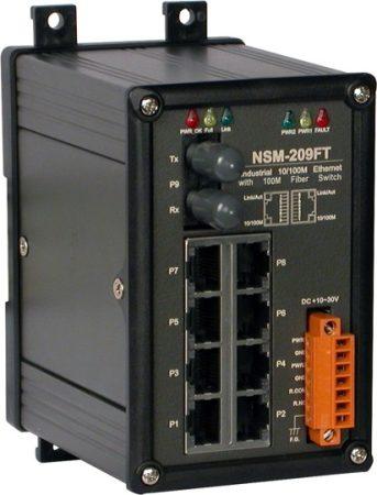NSM-209FT # Multi-mód, ST csatlakozó, 8-port 10/100 Mbps és 1 fiber port switch, fémház, ICP DAS