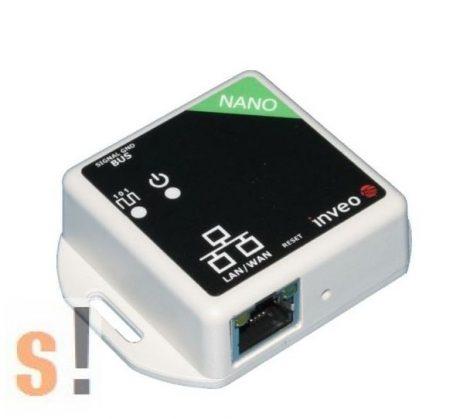 Nano TEMP Plus # Mini Ethernet I/O modul/1x termosztát bemenet/hőmérséklet mérés/DS18B20 szenzor/HTTP/SNMP/TCP/Modbus TCP, Inveo
