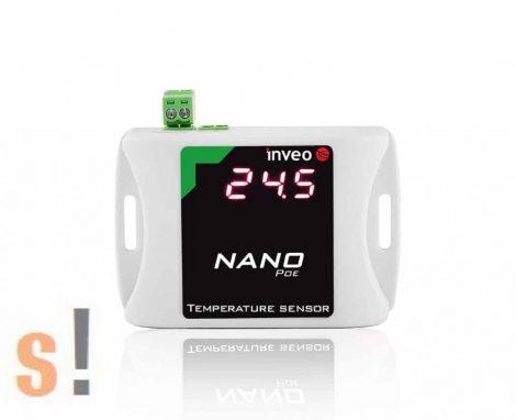 Nano TEMP PoE # Mini PoE Ethernet I/O modul/1x termosztát bemenet/hőmérséklet mérés/LED kijelző/DS18B20 szenzor/HTTP/SNMP/TCP/Modbus TCP, Inveo