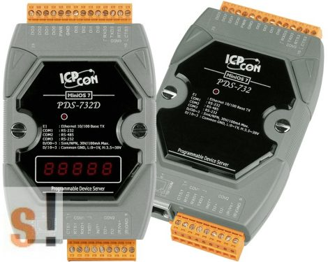 PDS-732D # Soros/Ethernet/Konverter/Programozható/1x-RS-485/2x-RS-232-port/Ethernet-10/100/4x DI/4x DO/LED-ICPDAS