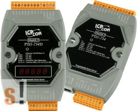 PDS-734 # Soros/Ethernet/Konverter/Programozható/1x RS-232/1x RS-485/1x RS-422/485 port/Ethernet 10/100/4x DI/4x DO, ICPDAS