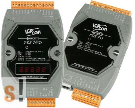 PDS-743 # Soros/Ethernet/Konverter/Programozható/1x RS-485/3x RS-232 port/Ethernet 10/100/4x DI/4x DO, ICPDAS