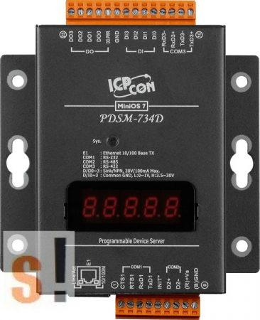 PDSM-734D # Soros/Ethernet/Konverter/Programozható/1x RS-232/1x RS-485/1x RS-422/485 port/Ethernet 10/100/4x DI/4x DO/fém ház/LED, ICPDAS