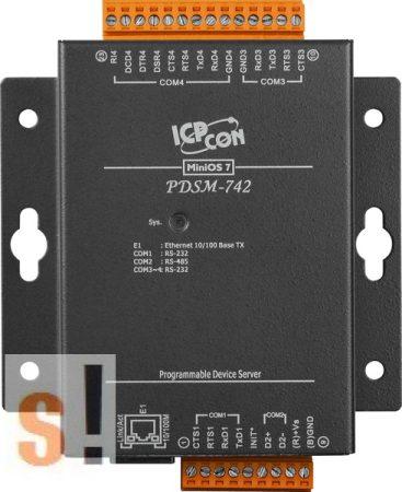 PDSM-742D # Soros/Ethernet/Konverter/Programozható/1x RS-485/3x RS-232 port/Ethernet 10/100/fém ház/LED, ICPDAS