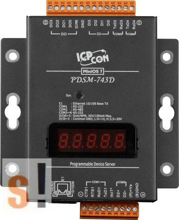 PDSM-743D # Soros/Ethernet/Konverter/Programozható/1x RS-485/3x RS-232 port/Ethernet 10/100/4x DI/4x DO/fém ház/LED, ICPDAS