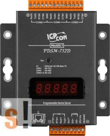 PDSM-752D # Soros/Ethernet/Konverter/Programozható/1x RS-485/4x RS-232 port/Ethernet 10/100/fém ház/LED, ICPDAS