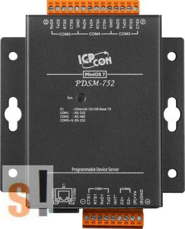 PDSM-752 # Soros/Ethernet/Konverter/Programozható/1x RS-485/4x RS-232 port/Ethernet 10/100/fém ház, ICPDAS