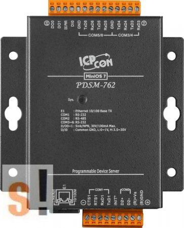 PDSM-762 # Soros/Ethernet/Konverter/Programozható/1x RS-485/5x RS-232 port/Ethernet 10/100/1x DI/2x DO/fém ház, ICPDAS