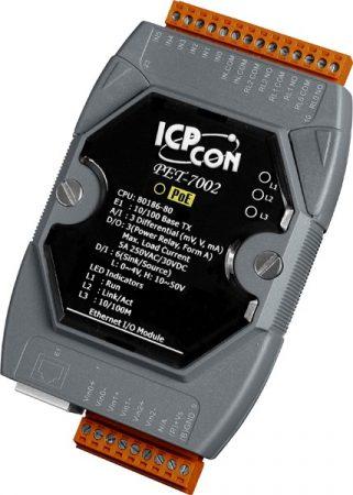 PET-7002 # PoE Ethernet I/O Module/Modbus TCP/3AI/6DI/3 Relay, ICP DAS