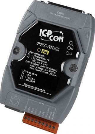 PET-7018Z/S #PoE  Ethernet I/O Module/Modbus TCP/10AI/TC/6DO/DB-1820, ICP DAS
