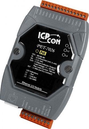 PET-7026 # PoE Ethernet I/O Module/Modbus TCP/6AI/2AO/2DI/2DO, ICP DAS
