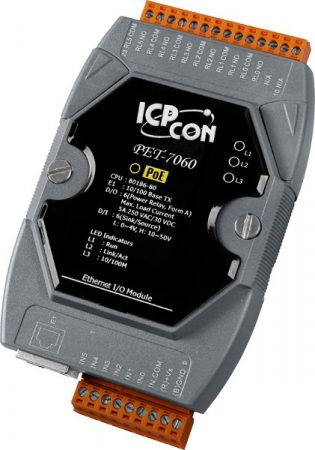 PET-7060 # PoE Ethernet I/O Module/Modbus TCP/6 Relay Out/6DI, ICP DAS