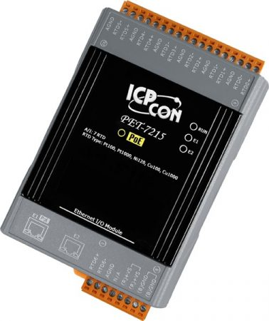 PET-7215 # PoE Ethernet I/O Module/Modbus TCP/7AI/RTD/2LAN, ICP DAS