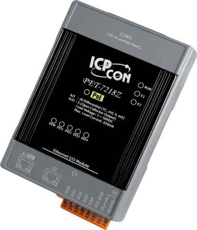 PET-7218Z/S #PoE  Ethernet I/O Module/Modbus TCP/10AI/TC/5DO/2LAN/DB-1820, ICP DAS