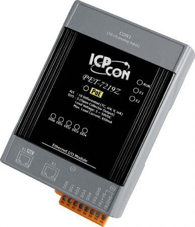 PET-7219Z/S # PoE Ethernet I/O Module/Modbus TCP/10AI/5DO/DB-1822, ICP DAS