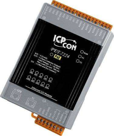 PET-7224 # PoE Ethernet I/O Module/Modbus TCP/4AO/5DI/5DO/2LAN, ICP DAS