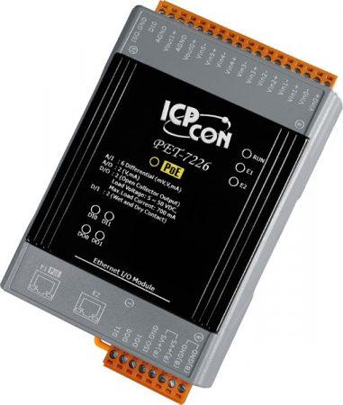 PET-7226 # PoE Ethernet I/O Module/Modbus TCP/6AI/2AO/2DI/2DO/2LAN, ICP DAS