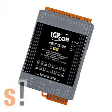 PET-7250A # PoE Ethernet I/O Modul/Modbus TCP/12x DI/6x DO/2x LAN port/DIN sínre, ICP DAS, ICP CON