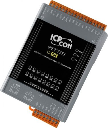 PET-7253 # PoE Ethernet I/O Module/Modbus TCP/16 DI/2LAN, ICP DAS