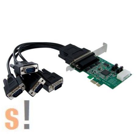 PEX4S952LP # 4x RS-232 portos PCI-E kártya/4x DB9 papa csatlakozó/128 byte FIFO/460.8 kbps, Startech