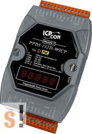 PPDS-732D-MTCP # Soros/PoE-Ethernet/Konverter/Modbus/Átjáró/Programozható/1x-RS-485/2x-RS-232-port/Ethernet-10/100/4x DI/4x DO/LED-ICPDAS