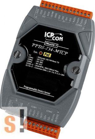 PPDS-734-MTCP # Soros/PoE-Ethernet/Konverter/Modbus/Átjáró/Programozható/1x RS-232/1x RS-485/1x RS-422/485 port/Ethernet 10/100/4x DI/4x DO, ICPDAS
