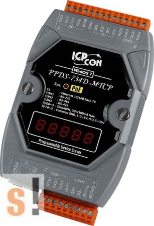 PPDS-734D-MTCP # Soros/PoE-Ethernet/Konverter/Modbus/Átjáró/Programozható/1x RS-232/1x RS-485/1x RS-422/485 port/Ethernet 10/100/4x DI/4x DO/LED, ICPDAS