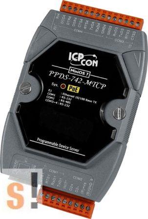 PPDS-742-MTCP # Soros/PoE Ethernet/Konverter/Modbus/Átjáró/Programozható/1x RS-485/3x RS-232 port/Ethernet 10/100, ICPDAS