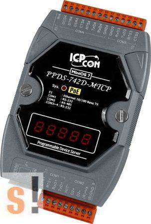 PPDS-742D-MTCP # Soros/PoE Ethernet/Konverter/Modbus/Átjáró/Programozható/1x RS-485/3x RS-232 port/Ethernet 10/100/LED, ICPDAS