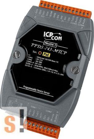 PPDS-743-MTCP # Soros/Ethernet/Konverter/Modbus/Átjáró/Programozható/1x RS-485/3x RS-232 port/Ethernet 10/100/4x DI/4x DO, ICPDAS