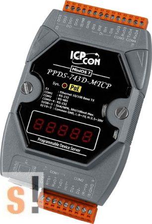 PPDS-743D-MTCP # Soros/Ethernet/Konverter/Modbus/Átjáró/Programozható/1x RS-485/3x RS-232 port/Ethernet 10/100/4x DI/4x DO/LED, ICPDAS