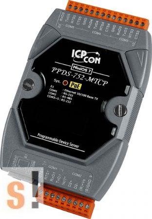 PPDS-752-MTCP # Soros/PoE Ethernet/Konverter/Modbus/Átjáró/Programozható/1x RS-485/4x RS-232 port/Ethernet 10/100, ICPDAS