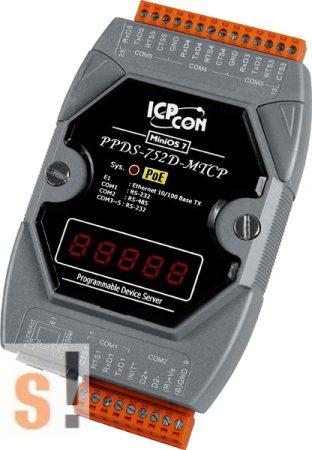 PPDS-752D-MTCP # Soros/PoE Ethernet/Konverter/Modbus/Átjáró/Programozható/1x RS-485/4x RS-232 port/Ethernet 10/100/LED, ICPDAS