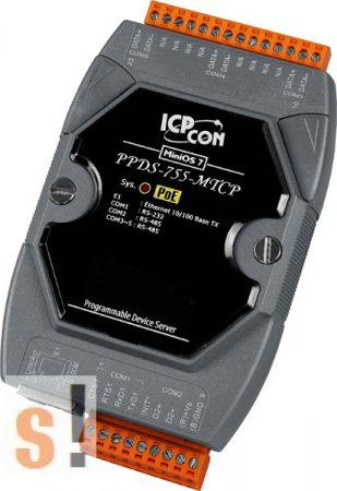 PPDS-755-MTCP # Soros/Ethernet/Konverter/Modbus/Átjáró/Programozható/4x RS-485/1x RS-232 port/Ethernet 10/100, ICPDAS