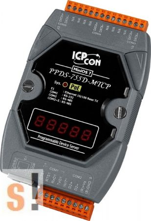 PPDS-755D-MTCP # Soros/Ethernet/Konverter/Modbus/Átjáró/Programozható/4x RS-485/1x RS-232 port/Ethernet 10/100/LED, ICPDAS