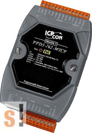 PPDS-762-MTCP # Soros/Ethernet/Konverter/Modbus/Átjáró/Programozható/1x RS-485/5x RS-232 port/Ethernet 10/100/1x DI/2x DO, ICPDAS
