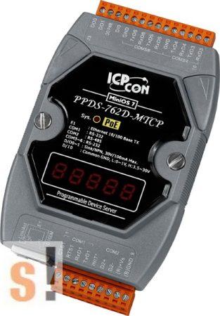 PPDS-762D-MTCP # Soros/Ethernet/Konverter/Modbus/Átjáró/Programozható/1x RS-485/5x RS-232 port/Ethernet 10/100/1x DI/2x DO/LED, ICPDAS