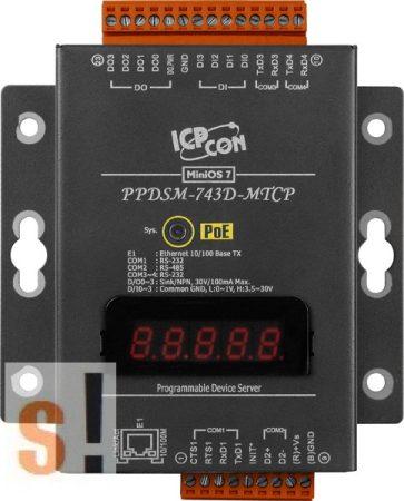 PPDSM-743D-MTCP # Soros/Ethernet/Konverter/Modbus/Átjáró/Programozható/1x RS-485/3x RS-232 port/Ethernet 10/100/4x DI/4x DO/fém ház/LED, ICPDAS