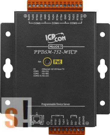 PPDSM-752-MTCP # Soros/PoE Ethernet/Konverter/Modbus/Átjáró/Programozható/1x RS-485/4x RS-232 port/Ethernet 10/100/fem haz, ICPDAS